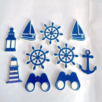 Catwalk 100pcs Anchor Rudder Sailing Light Telescope Sewing WoodenButtons - intl Price Philippines