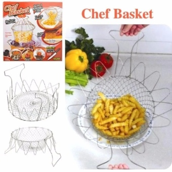 Chef Basket, Stainless Steel Foldable Strain Fry Basket StrainerNet Kitchen Cooking Tool for Fried Food or Fruits