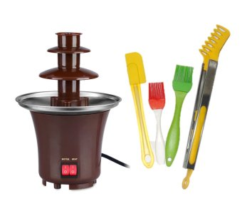 Chocolate Fondue Fountain (Brown) with 4-Piece Silicon Tool Set