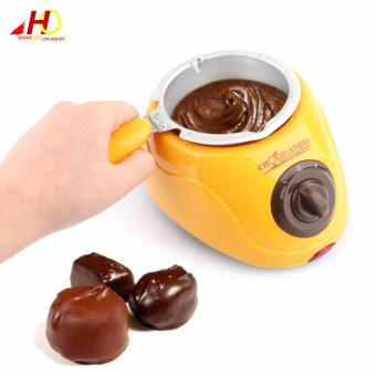 Chocolatiere Household Electric Chocolate Melting Pot Candy Melt Chocolate Cheese Boiler (Yellow) - 2