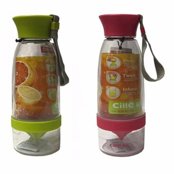Citrus Juicer Infuser Water Bottle Set Of 2 (Multi-Color)