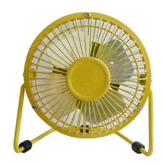 D&D Super Mute 360-degree Rotating Metal Blade USB Mini Desktop Cooling Electric Fan (Yellow)