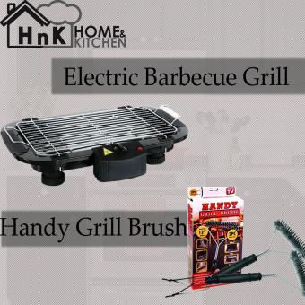 DED-006 Electric Outdoor Barbecue Grill (Black) + Handy Grill Brush12 inches 2 pc Value Pack