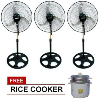 "Denki DSF-18 18"" Banana Blade Stand Fan Set of 3 with Free RiceCooker Price Philippines"