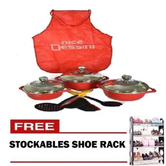 Dessini 6 Piece Cookware Sauce Pan with Free Apron and StockableShoe Rock