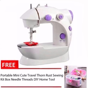 Double Thread Sewing Machine with Foot Pedal and Adapter(White-Lavender) with Free Thorn Rust Sewing Kit Box Needle Threads Pink