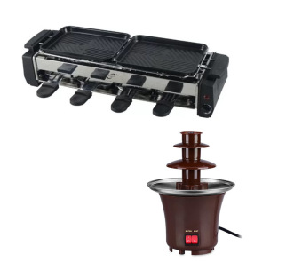 Electric BBQ Grill Pan Non-Stick Pan(Black) with Mini ChocolateFondue Fountain (Brown)