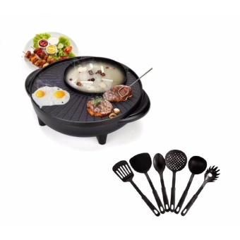 Empire Korean Style 2 in 1 Multifunctional Electric BBQ Raclette Hotpot With Grill Pan with Plastic Kitchen Utensil Black , Set of 6