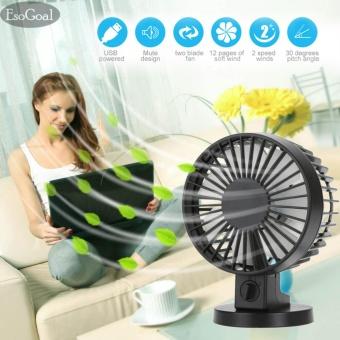 EsoGoal USB Desk Mini Fan, Quiet Table Fan 2 Speed Modes DualBlades for Home Room