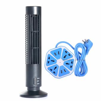 GMY 2-Speed USB Tower Fan (Black) with Smart 4-Outlet with 4-USBHexagon Creative Power Strip (Blue) Price Philippines