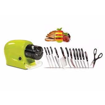 GMY Cordless Motorized Knife Sharpener in Green Swifty Sharp -Green with Complete 13-Piece Knife Set