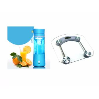 GMY Rechargeable USB Electric Fruit and Vegetable Blender CupJuicer Extractor 380mL (Blue) with Home-Use Digital GlassPersonal Scale