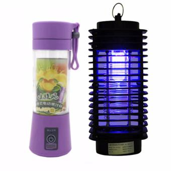 GMY Rechargeable USB Electric Fruit and Vegetable Blender CupJuicer Extractor 380mL (Purple) with Electric UV MosquitoKiller/Zapper Bug Fly Wasp Trap Pest