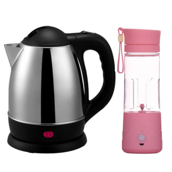 GMY Scarlett Wireless Electric Kettle 1.8L (Silver) WithRechargeable USB Electric Fruit and Vegetable Blender Cup JuicerExtractor 380mL (Pink)