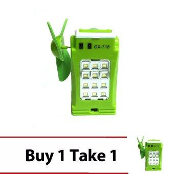 GX-718 Rechargeable Mini Led Fan And Powerbank (Green) Buy 1 Take 1