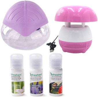 H2O+ Air Purifier Humidifier and Revitalizer (Lavander) with E8Mini USB Mushroom Shaped LED Photocatalyst Mosquito Killer &Lamp (Pink) and Humidifier Scent Starter Kits Aroma Series Set(White)