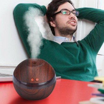HengSong Ultrasonic Aroma Oil Diffuser Air Humidifier Purifier Air Cleaner(Dark wood color) - intl