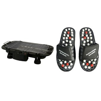 Harga Electric Outdoor Barbecue Grill (Black) with Acupuncture Foot Reflex Massage Medium Slippers (Black) Bundle