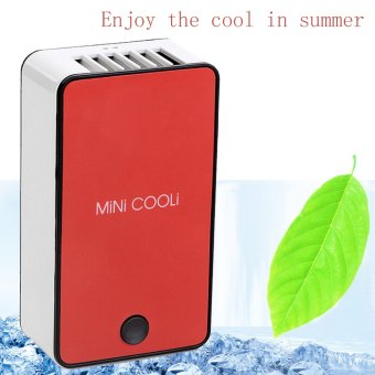 Portable Mini Bladeless USB Rechargeable Air Conditioning Fan Appliances (Red) Price Philippines