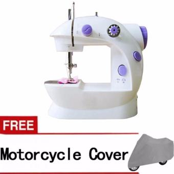 2-Speed Mini Electric Sewing Machine Kit (White/Lavender) with Free Medium Motorcycle Cover (Gray) Price Philippines