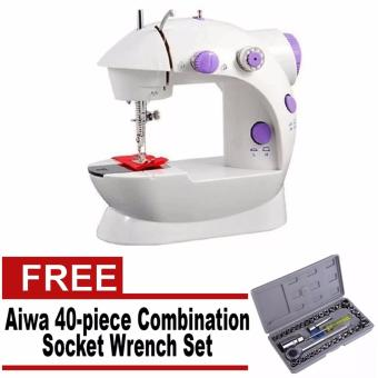 2-Speed Mini Electric Sewing Machine Kit (White/Lavender) With Free Aiwa Combination Socket Wrench 40-piece Set Price Philippines