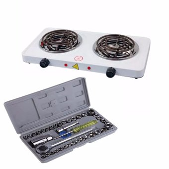 Best Quality 1000W Double Burner Hot Plate Electric Cooking YQ-2020B WITH Aiwa Combination Socket Wrench 40-piece Set Price Philippines