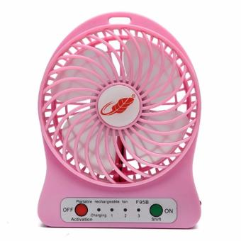 Harga 3-Speed Mini Portable Rechargeable Fan (Pink)