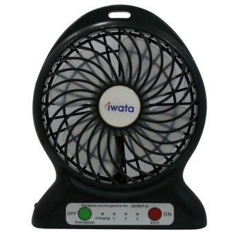 Iwata CM16RHF-03 Portable Rechargeable Fan with USB Power Bank Function (Black)