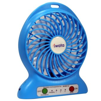 Iwata CM16RHF-03 Portable Rechargeable Fan with USB Power Bank Function (Blue) - 2