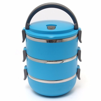 J&J 3 Layers Stainless Steel Lunch Box Thermal Insulated Handle