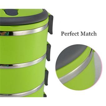 J&J 3 Layers Stainless Steel Lunch Box Thermal Insulated Handlewith FREE Nicer Dicer Plus Speedy Chopper - 3