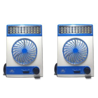 J&J High Quality Rechargeable 3 in 1 Solar Light Fan Set of 2 (Blue/White)