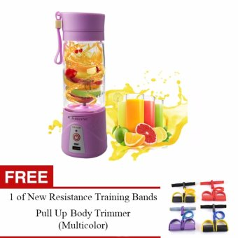 J&J Multi-function 380ML Portable Electric Juicer/Blender/IceCrusher + Power Bank (Purple) with FREE New Resistance TrainingBands Pull Up Body Trimmer
