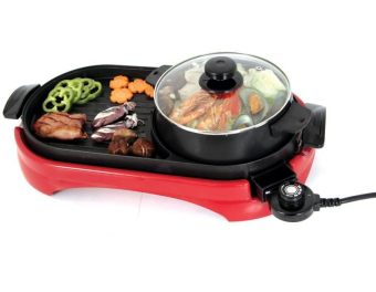 J&J Multi-function Electric Hotplate Grill (Red) - 2