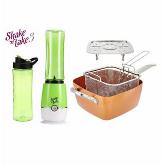 J&J Shake N Take3 Tumbler and Blender with 4 piece Square Copper Pan Pro