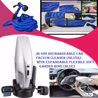 JK-008 Rechargeable Car Vacuum Cleaner (Silver) with Expandable Flexible 50ft. Garden Hose (Blue)