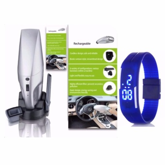 JK-008 Rechargeable Car Vacuum Cleaner (Silver)with Led Watch Color May Vary