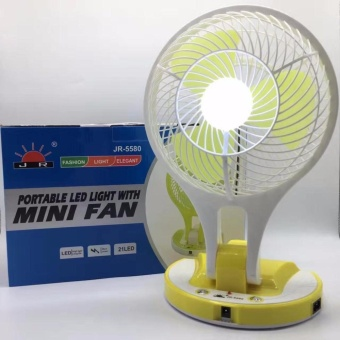 JR-5580 Portable LED Light with Mini Fan (random color)