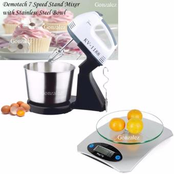 KV-1188 7-Speed Stand Mixer with Stainless Bowl (Black/White) with Digital Glass Kitchen Weighing Scale LCD 5KG/1G