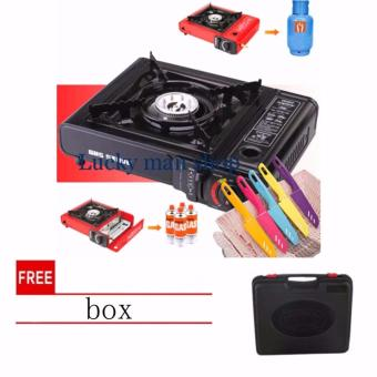lazada and USA best selling 6 in 1 Portable Gas Stove and knife set(Black) with free Qulity BOX