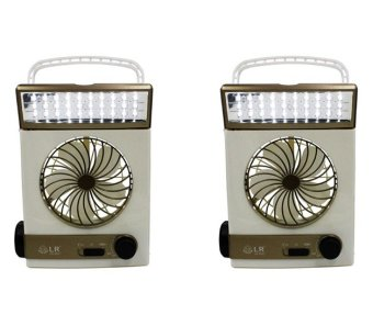 LR5591 Solar Power Rechargeable LED Light Fan (White/Gold) Set of 2