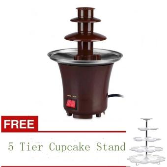 Mini Chocolate Fondue Fountain (Brown) with FREE 5 Tier CupcakeStand