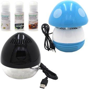Mini Egg Air Revitalisor (Black) With Mini Mushroom Shaped LED Photocatalyst Mosquito Killer & Lamp (Blue) and Humidifier Scent Starter Kits Spa Series Set (White)