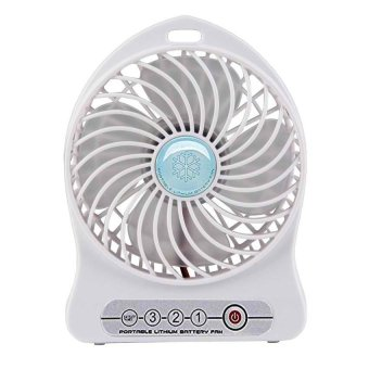 Mini USB Rechargeable Portable Cooling Desk Fan (White) Price Philippines