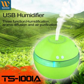 Mini USB Ultrasonic Atomization Humidifier Oil Diffuser AirPurifier Mist Maker LED Night Light Home Office (Green)