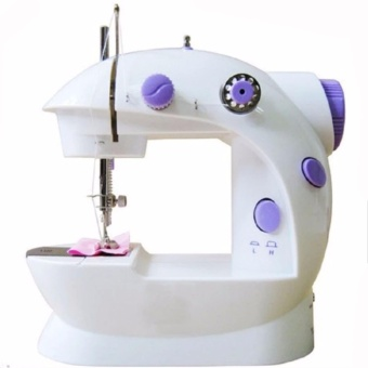 MSM-202A Stable Version Light 2-Speed Mini Electric Sewing Machine Kit (White/Purple)