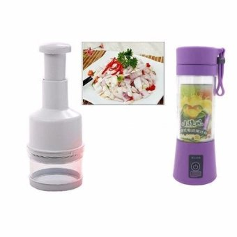 Multi-function 380ML Mini Juice Extractor Portable Electric FruitJuicer Vegetable Citrus Blender Ice Crusher + Power Bank OutdoorTravel (Purple) with Kitchen Pressing Food Chopper Cutter SlicerPeeler Dicer Vegetable Onion Garlic (White)