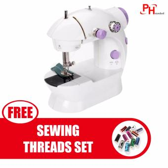 Phstandard PHSM-303 There is Light 2-Speed Mini Electric SewingMachine Kit (White/Purple) with Free 12PCS Sewing Threads Set