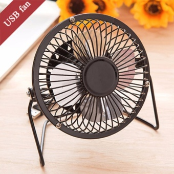 Portable DC 5V Small Desk USB 4 Blades Cooler Cooling Fan USB MiniFans Operation Super Mute Silent PC Laptop Notebook-Black - intl Price Philippines