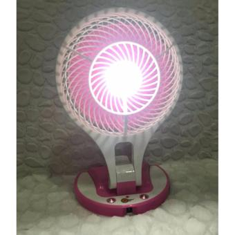 Portable Rechargeable Mini Fan with LED Light (Pink)